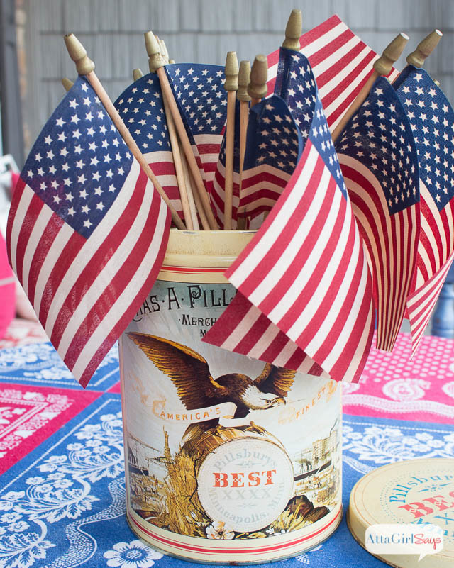 DIY Tea-Stained Vintage American Flags
