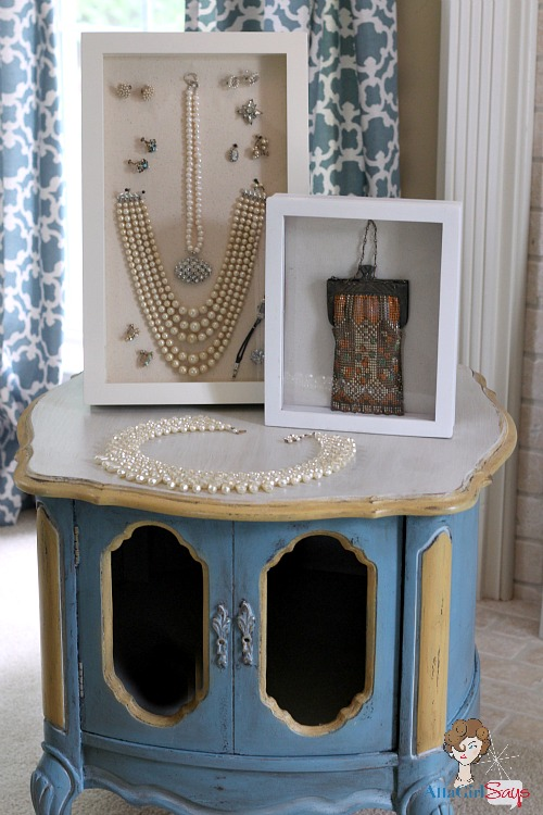 Vintage Jewelry in Shadow box frame