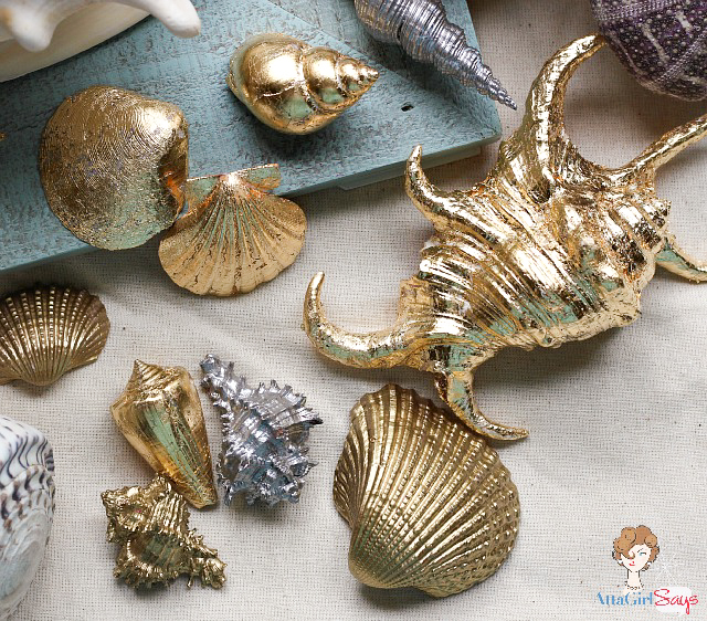 Gilded seashells two ways atta girl says for Large seashells for crafts