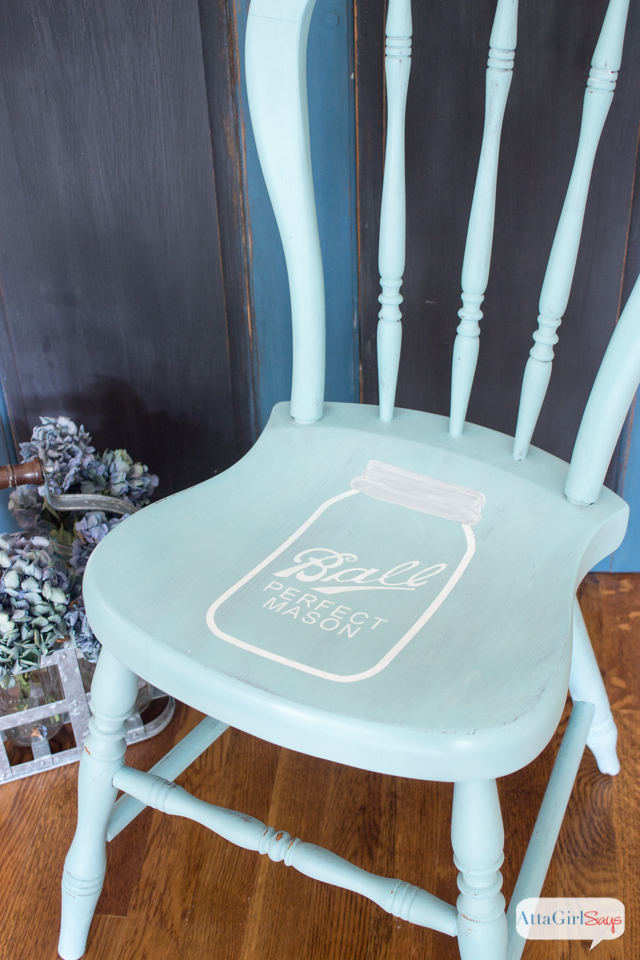 Mason Jar Stenciled Chair in Miss Mustard Seed Milk Paint in Eulalie's Sky