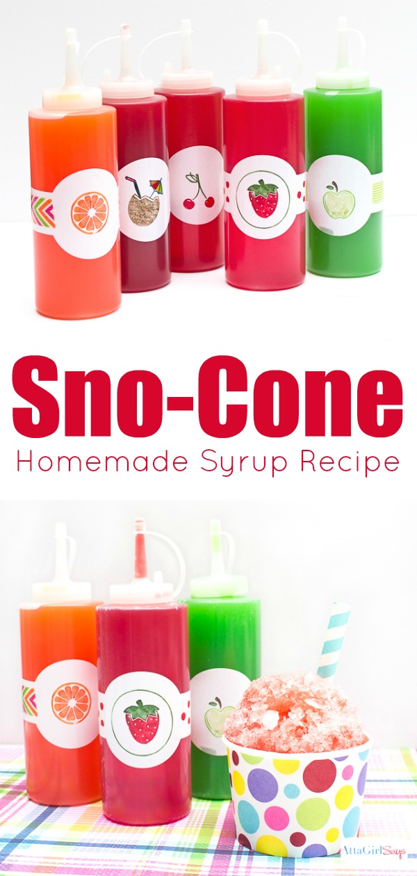 Did you know you can make your own homemade sno cone syrup in your favorite flavor? Get the easy snow cone syrup recipe, plus learn how to decorate the bottles. Kids will love making their own sno-cones this summer, and you'll save lots of money making the syrup instead of buying it. #summertreats #kidsrecipes #snocones #shavedice #snowcones