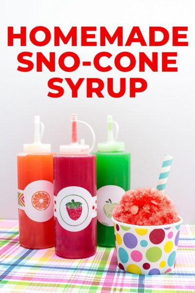 Homemade Snow Cone Syrup Recipe with Cute Fruit Labels