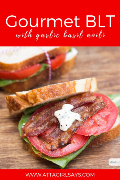 Gourmet BLT Sandwich with Candied Bacon & Garlic Basil Aioli