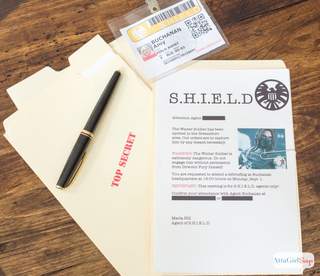 Captain America Party Ideas for Kids: S.H.I..E.L.D. Dossier invitations