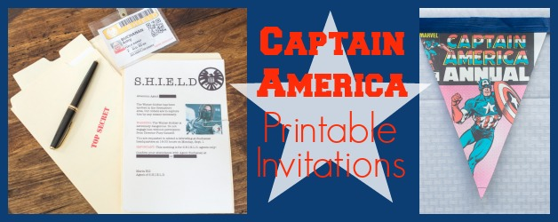 Captain America Printable Party Invitations And Agents of  S.H.I.E.L.D. Badges