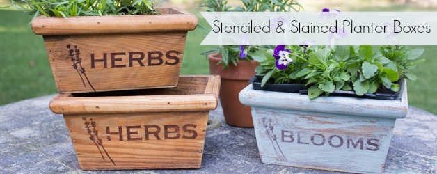 Stenciled & Stained Wooden Planter Boxes