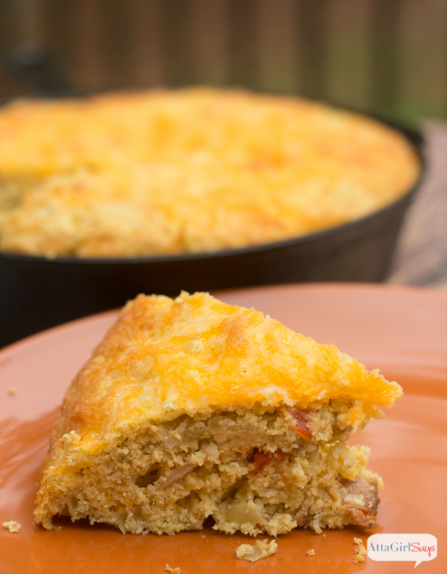 Cheesy Green Chile Cornbread Recipe - Atta Girl Says