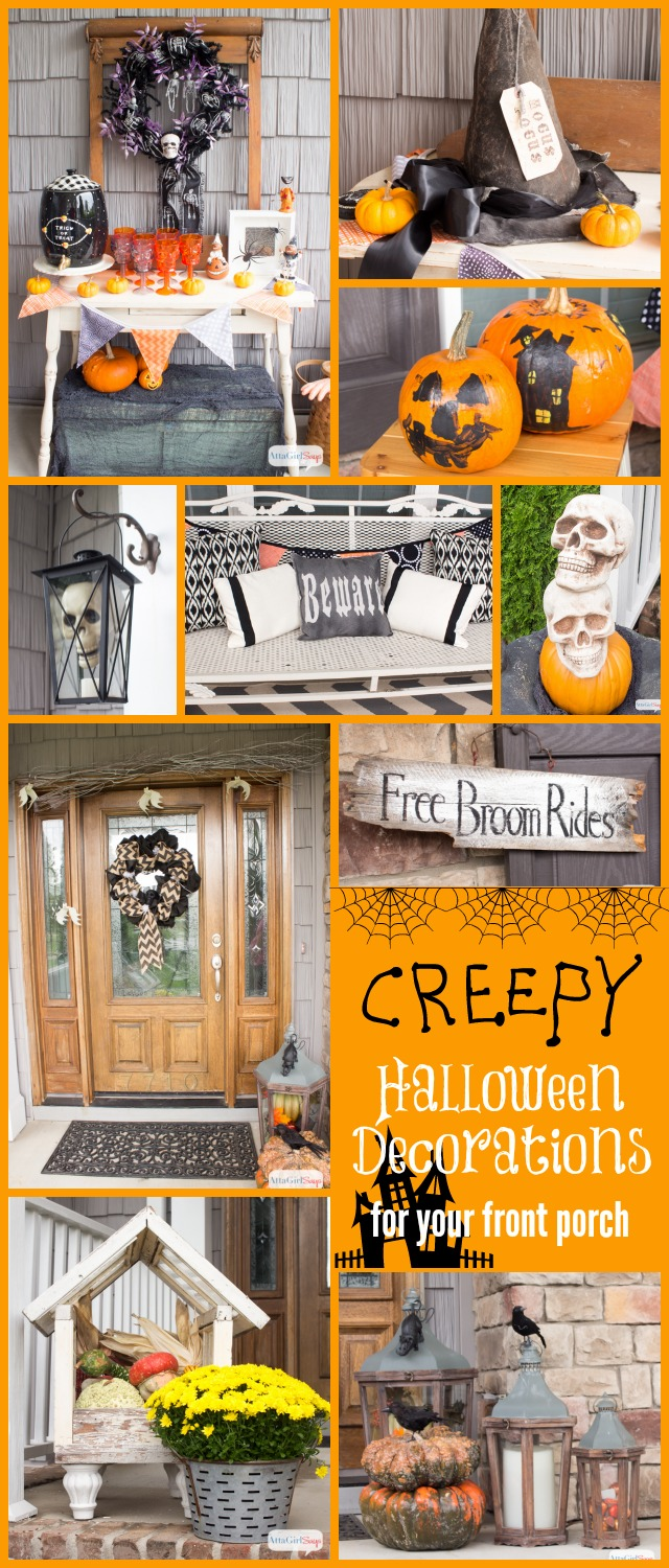 Love all these outdoor Halloween decorations for the front porch. So much spooky fun and inspiration at AttaGirlSays.com