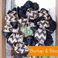 Burlap & Black Halloween Wreath Ideas