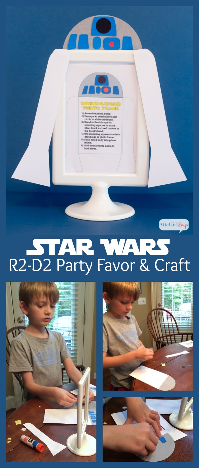 Free printable and template to make this fun R2-D2 craft. These make great Star Wars party favors.