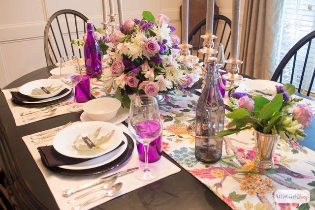 Elegant Black & Purple Thanksgiving Table Decor