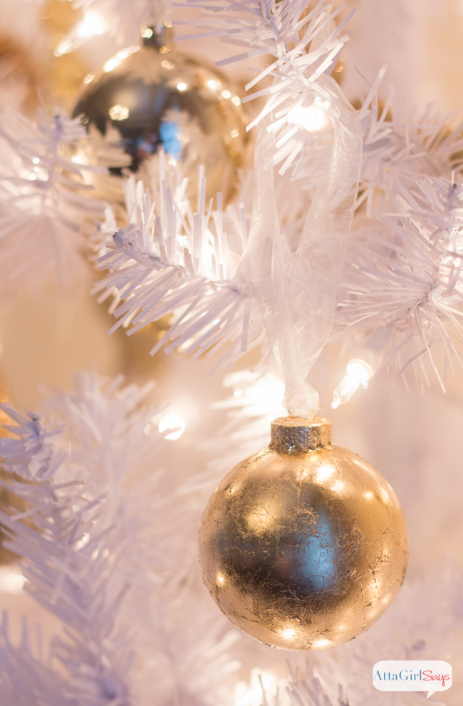 These gold Christmas ornaments are so easy to make and they add a real shine to your tree. If you've never used gold leaf, you'll be surprised by just how easy it is to achieve a luxe look