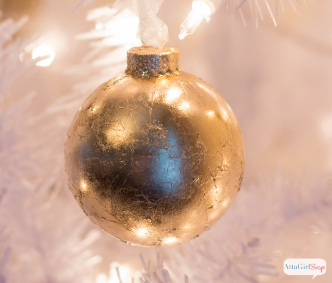 These gold Christmas ornaments are so easy to make and they add a real shine to your tree. If you've never used gold leaf, you'll be surprised by just how easy it is to achieve a luxe look.