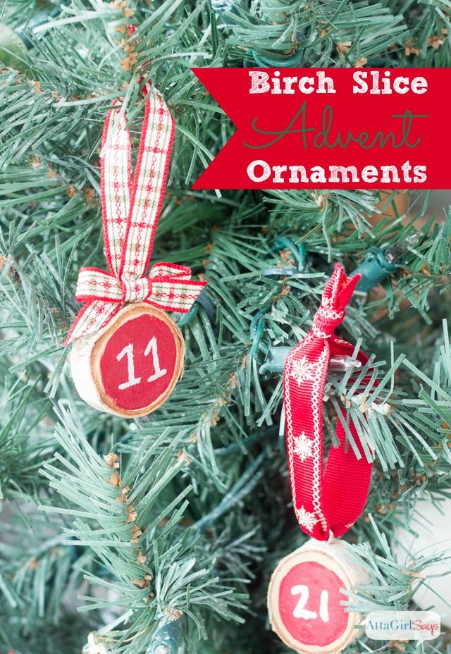 Wood Slice Advent Christmas Tree Ornaments