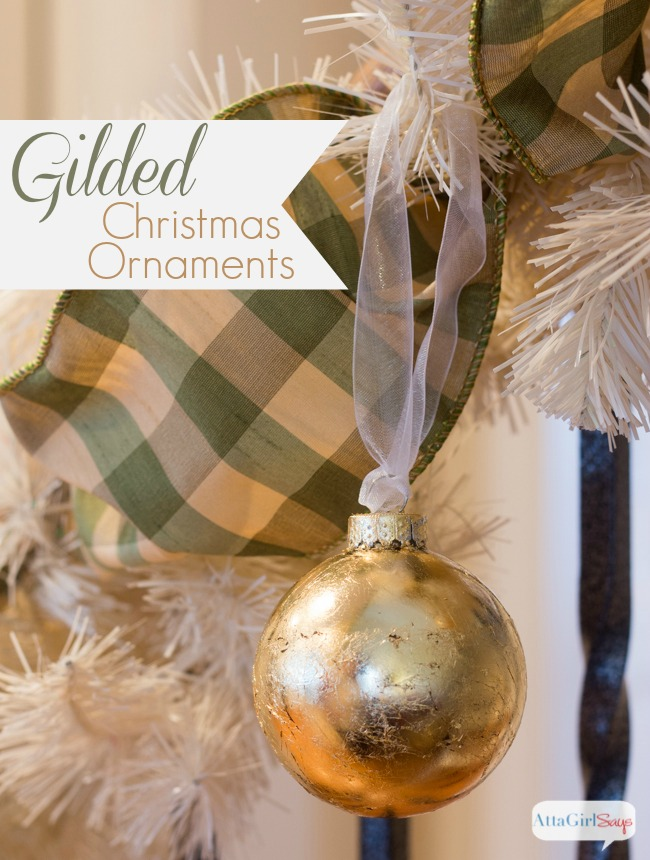 These gold handmade Christmas ornaments are so easy to make and they add a real shine to your tree. If you've never used gold leaf, you'll be surprised by just how easy it is to achieve a luxe look.