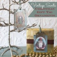Use scrapbook paper, paint and vintage Santa images to make these Christmas gift tags that also double as ornaments. Embelilish them with embossed paper, velvet ribbon and craft gems.
