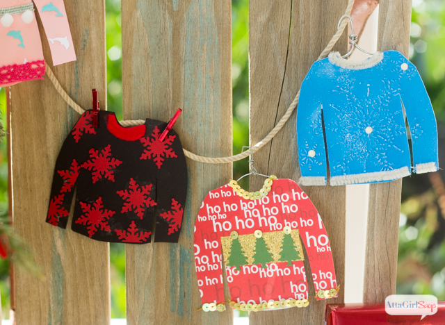 What a fun family craft!! Use cardstock, ribbon, craft punches, washi tape, pipe cleaners and other craft supplies to make these cute Ugly Christmas Sweater gift tags. A great family craft or activity for your ugly sweater party. Kids and adults alike will have a blast designing their ugly sweaters. Get the free sweater pattern by clicking here.