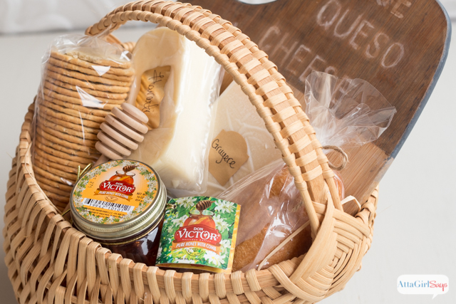 Honey & Cheese Gift Basket with Antiqued Bamboo Cutting Board - Atta Girl Says