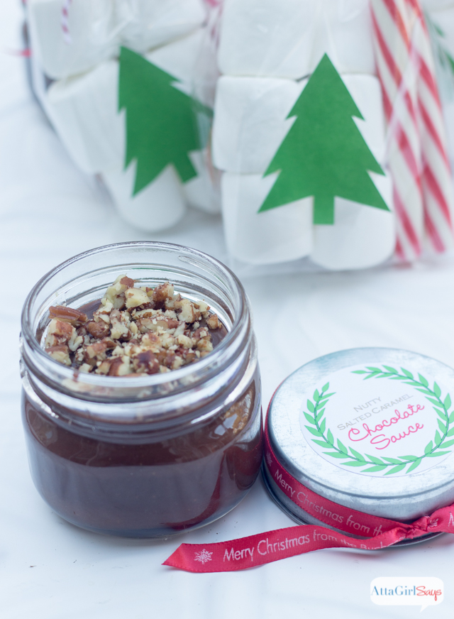 Nutty Salted Caramel Chocolate Sauce Homemade Gift #TasteTheSeason #cbias #ad