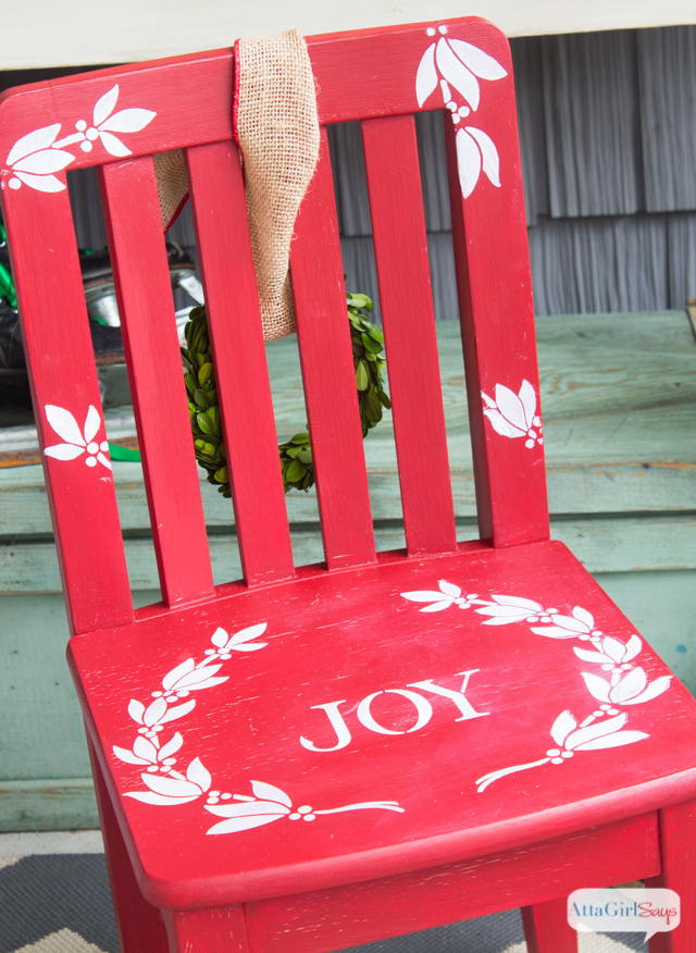 Use furniture stencils to give character to yard sale finds and upcycled treasures. I love this children's chair for Christmas.