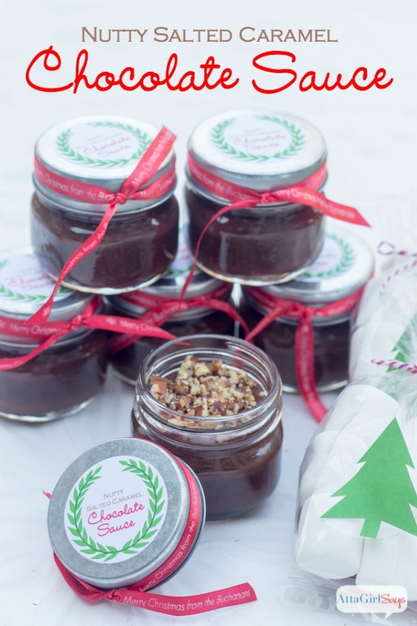 jar of salted caramel chocolate sauce with marshmallows