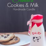 Learn how to make candles then make a batch of these Santa's cookies and milk candles for Christmas. They' smell yummy and they're adorable packaged in milk bottles painted with DecoArt Americana Chalky Finish paint. #decoartprojects #chalkyfinish #spon