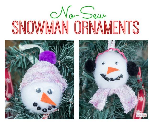 No-Sew Snowman Christmas Ornaments