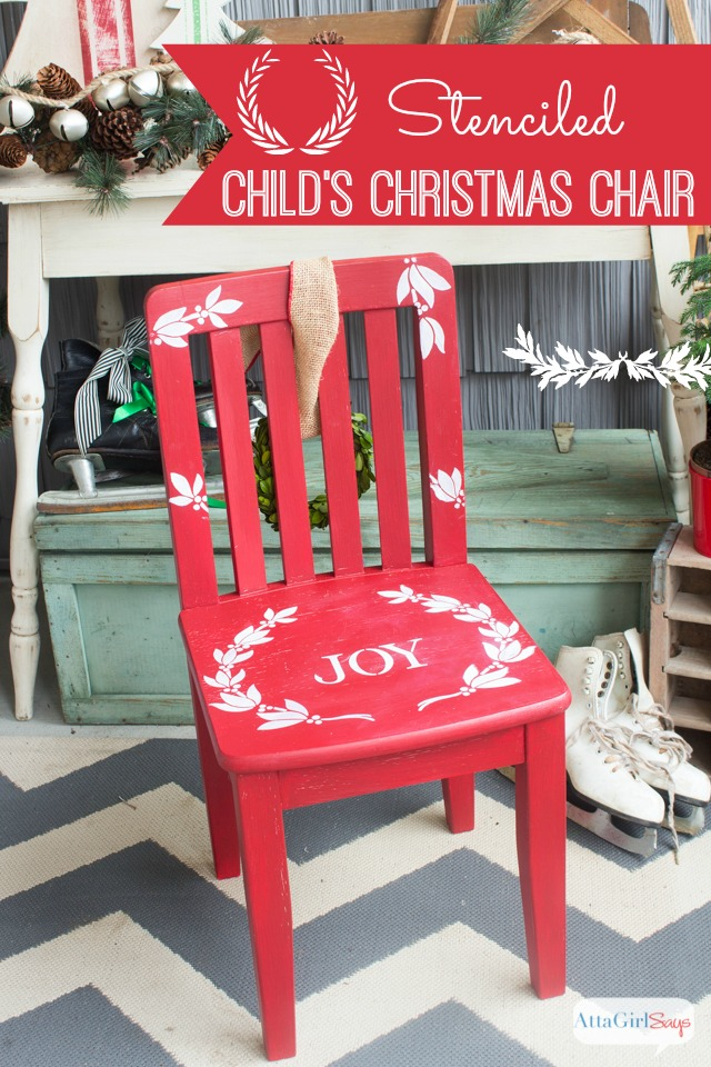 Stenciled Child's Christmas Chair