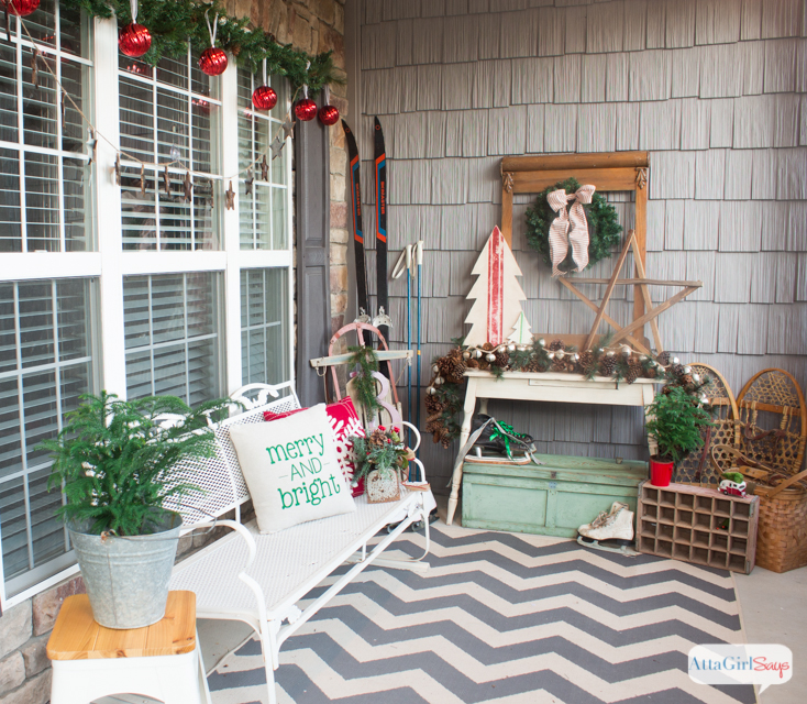 Vintage Inspired Christmas Porch Decorations