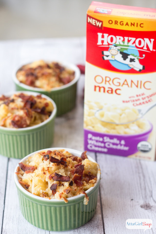 Gourmet Mac and Cheese with Bacon and Truffle Oil made with Horizon organic mac