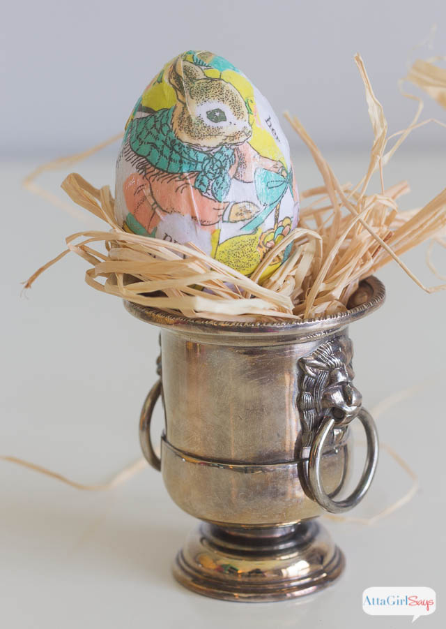 This is one of my favorite Easter egg decorating ideas. Photocopy old storybooks and use Mod Podge to decoupage the eggs.