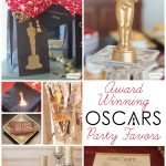Learn how to DIY your own Oscars party decorations and where to buy fabulous favors like the golden chocolate Oscars statues and personalized bouquets featured in this awesome Oscars party from AttaGirlSays.com