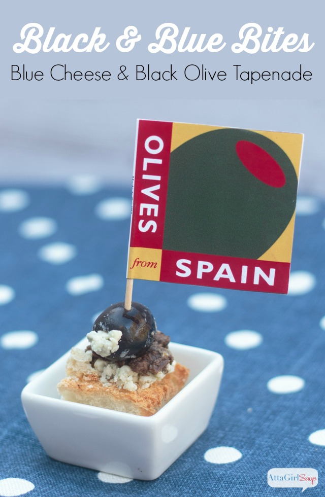 blue cheese stuffed black olive on crostini with olive tapenade