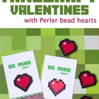 Printable Minecraft Valentines with Perler Bead Hearts