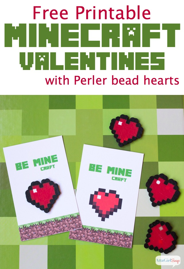 graphic about Printable Minecraft titled Minecraft Valentines with Perler Bead Hearts -- Print Create