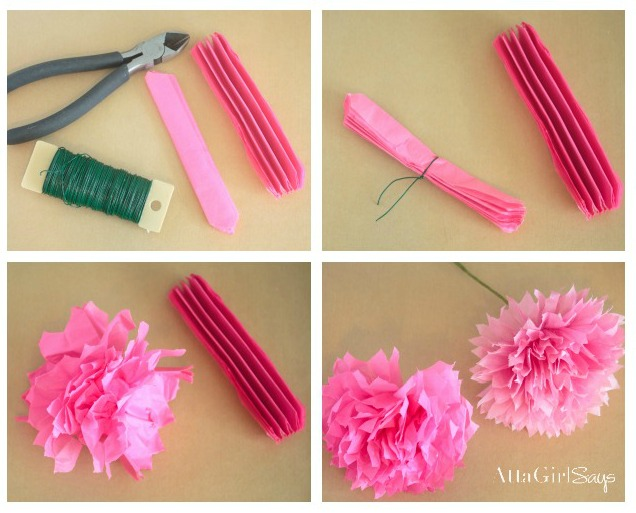 How to make tissue paper flowers atta girl says for Flower making at home
