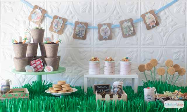 Peter Rabbit Inspired Easter Party dessert buffet