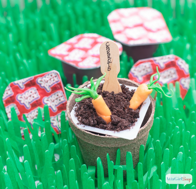 Pudding Dirt Cups with Candy Carrots for a Peter Rabbit Easter Party