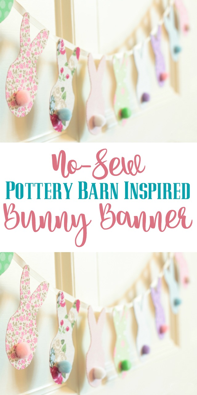 Use scrap fabric to make the cute Easter bunny banner! This sturdy banner, which can be used year after year requires no sewing. Inspired by Pottery Barn! #easterdecorating #PotteryBarn #knockoff #EasterCrafts #banner #bunting
