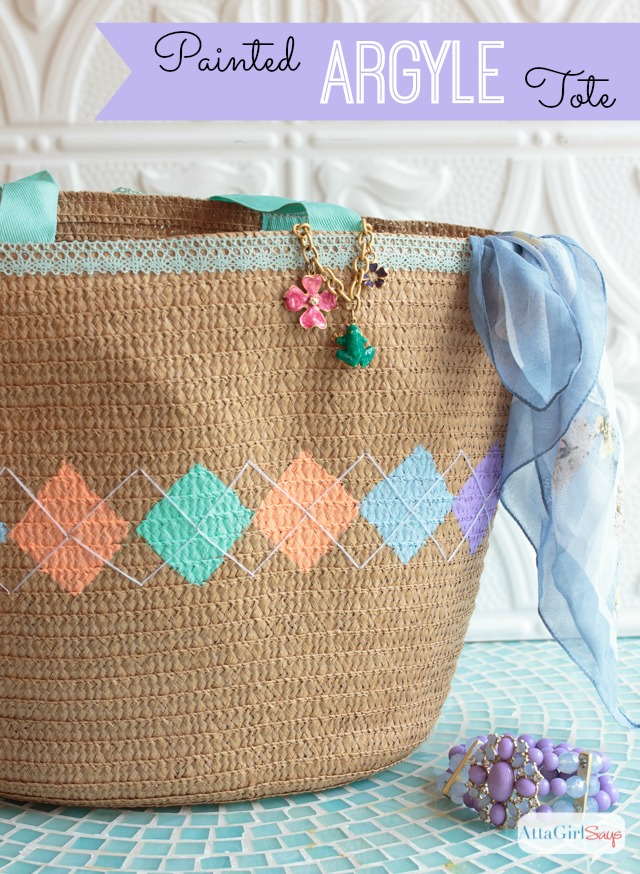 Argyle Pattern Spring Tote Bag