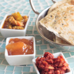 fried bread with a trio of Indian chutneys