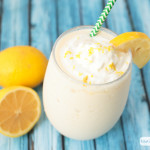 glass of frosted frozen lemonade with whipped cream