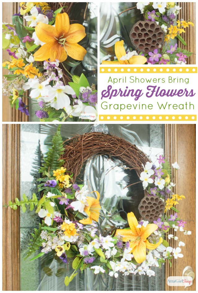 Spring flowers grapevine wreath atta girl says what a beautiful grapevine wreath the purple yellow and white flowers are perfect for mightylinksfo
