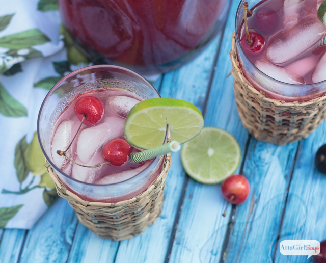 This homemade cherry limeade recipe is the perfect low-calorie summertime drink. Made with fresh lime juice and cherry puree, it has the right balance of tart and sweet flavors. Mix in a little vodka, rum or tequila for a delicious adults-only version. #sponsored #donthesitaste