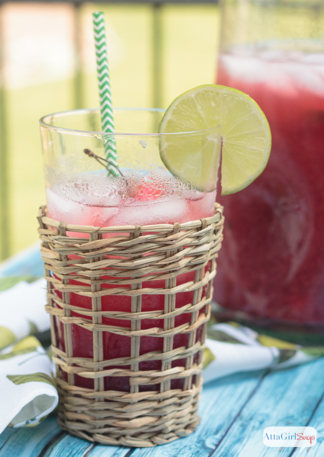glass of homemade cherry limeade