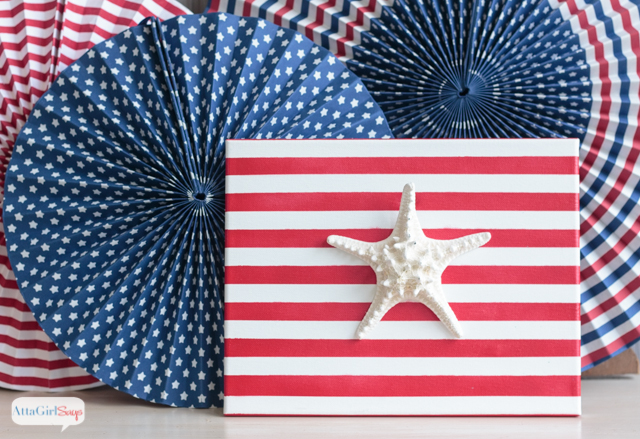 Stars and stripes meet sand and surf ! Make these patriotic nautical flags for July 4th and leave them up all summer.