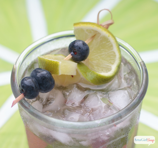 Try this seasonal craft cocktail twist on the traditional mojito recipe. This one combines blueberries and basil with lime juice and rum. Fresh flavors with a kick!