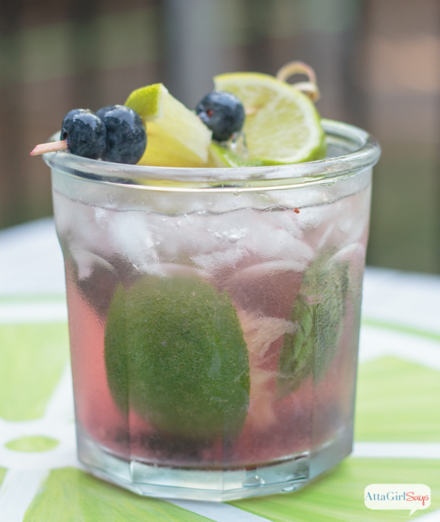 Try this seasonal craft cocktail twist on the traditional mojito recipe. This one combines blueberries and basil with lime juice and rum . Fresh flavors with a kick!
