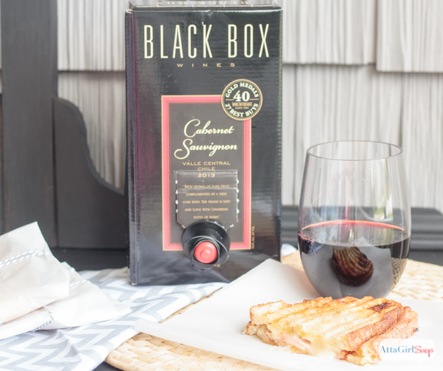 Fig jam, ham and brie cheese are a delicious flavor combination. Mellow, sweet and salty. Combined, they make a great toppings for a panini sandwich. #BlackBoxWine #ad