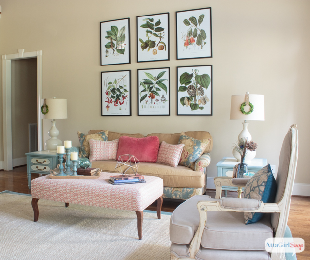 What a gorgeous space! I love the vibrant colors, the mix of vintage and modern elements and the use of different patterns, textures and natural elements. Lots of great living room decorating ideas.
